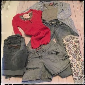 Lot:  Three Size 1 Bottoms and Four Size Small Top